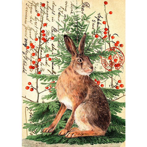 Christmas Hare on Vintage Page card