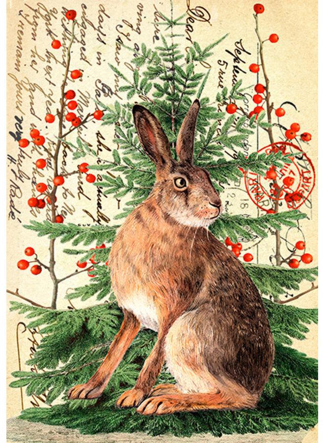 Weihnachtshase auf Vintage-Seitenkarte