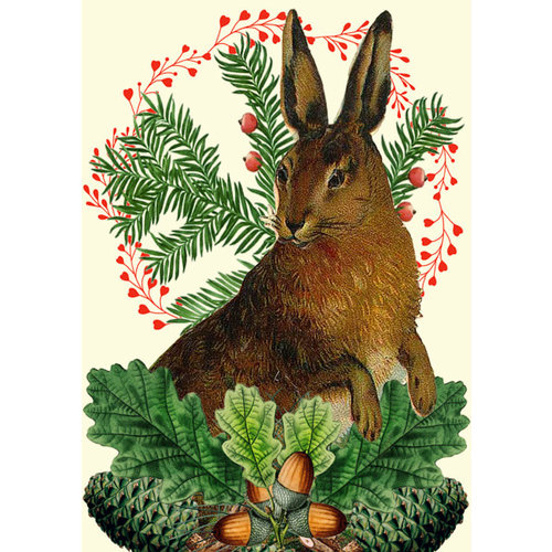 Madame Treacle Christmas Festive Hare  card