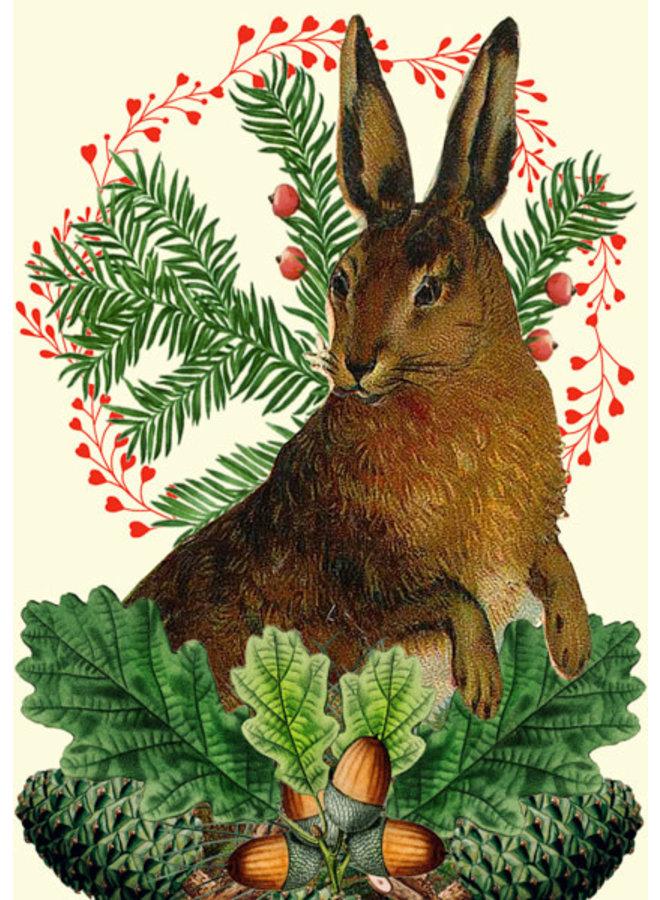 Weihnachtsfest Hasen Karte