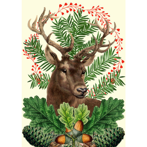 Madame Treacle Christmas Festive Stag  card