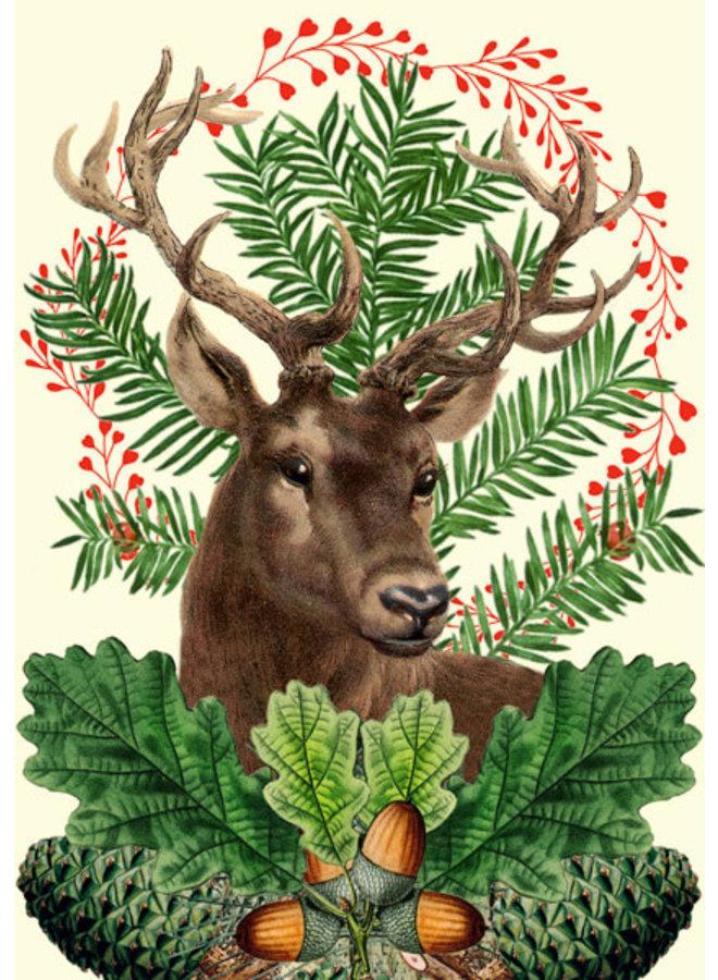 Weihnachtsfestliche Hirschkarte