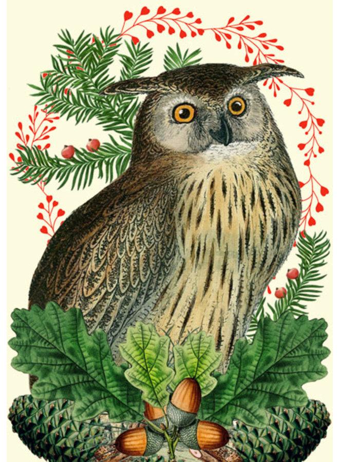 Weihnachtsfest Eulenkarte