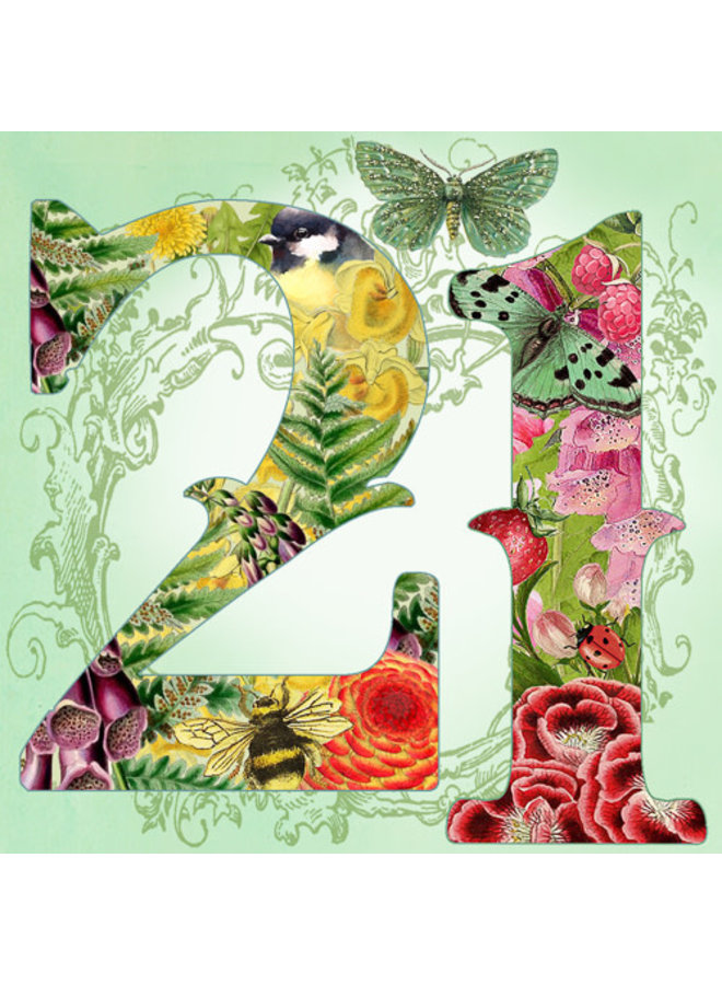 21 years greeting with glitter square card