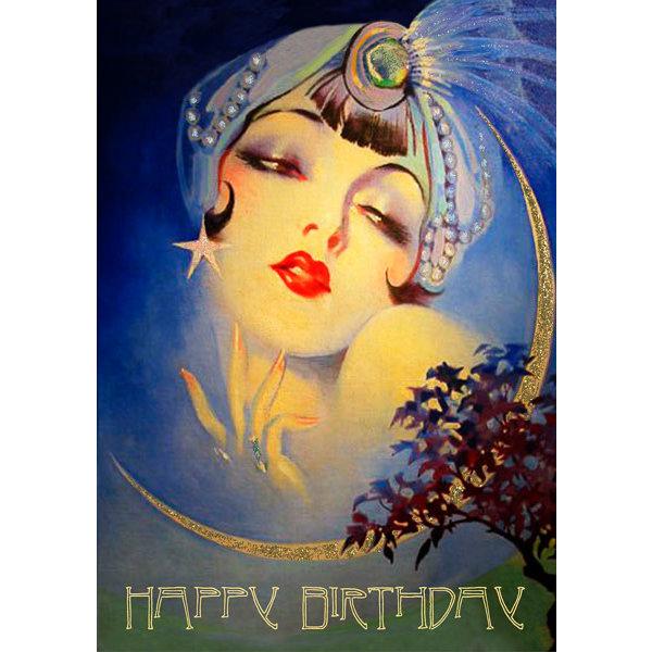 The Genie Happy Birthday glitter  card