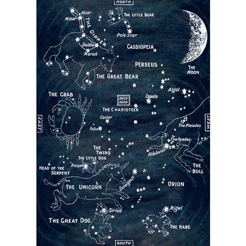 Madame Treacle Star Map glitter  card