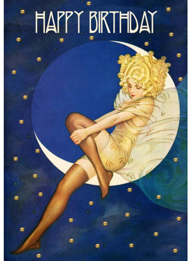 Sleeping on the Moon glitter  card