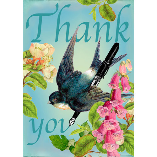 Madame Treacle Thank You Swallow and Pen  Card