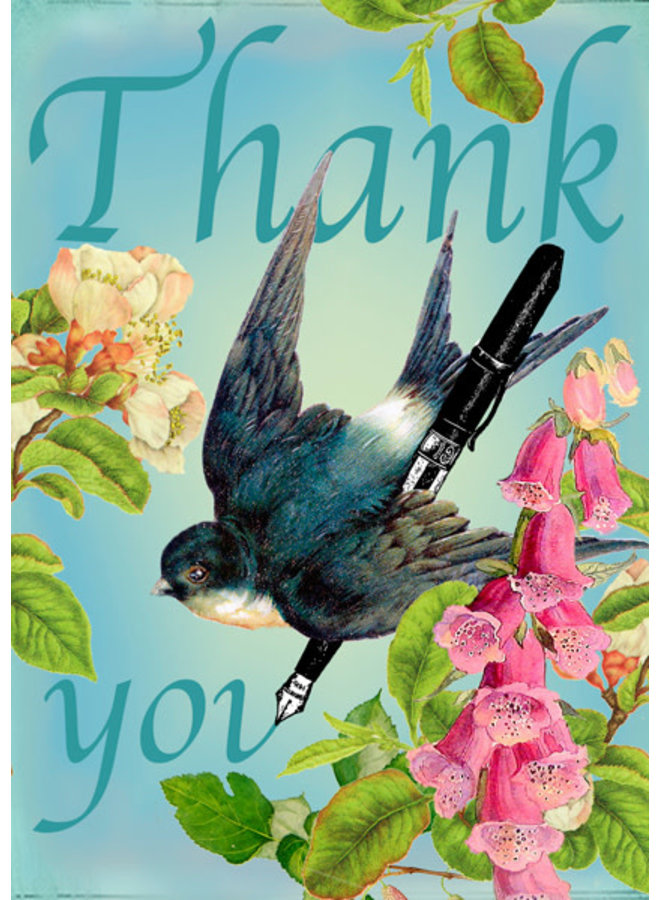 Thank You Swallow and Pen  Card