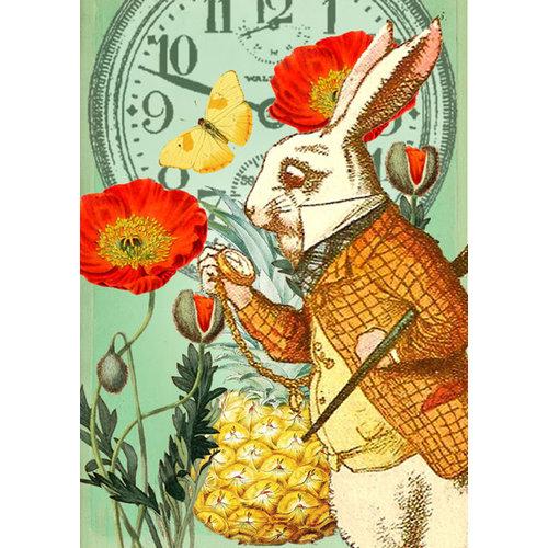 Madame Treacle White Rabbit in the Poppy Garden Alice Card