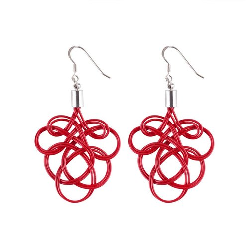 Paguro Flaminco Red Upcycled Electric Wire  Earrings 60