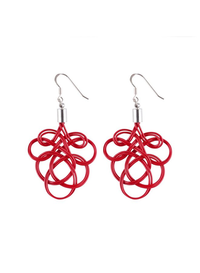 Flaminco Red Upcycled Electric Wire Ohrringe 60