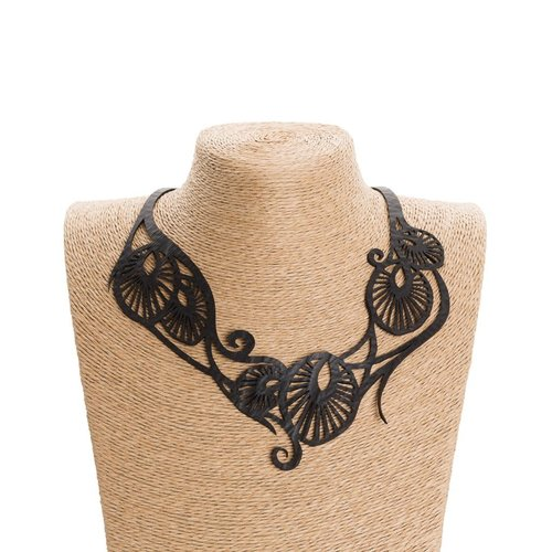 Paguro Leaf.Art Nouveau Collar de caucho reciclado 58
