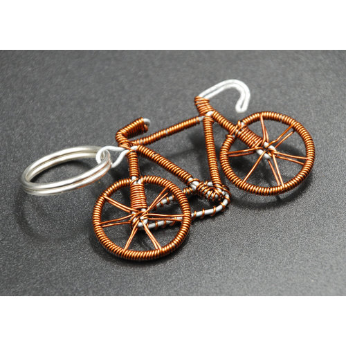 Cylcle Of Good Recycled Copper Wire Bicycle Key Ring 04