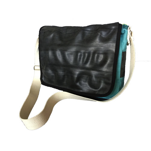 Cylcle Of Good Recycled Inner Tube & Canvas Courier Bag Blue
