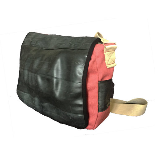Cylcle Of Good Recycled Inner Tube & Canvas Courier Bag Red