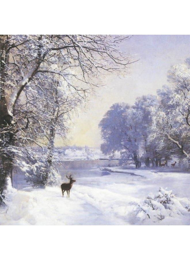 Deer on Snow von Lundby x5 Xmas Charity-Karten 140x140mm