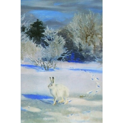 Artists Cards Winter Landscape with Snow Hare x5 Xmas Charity cards 140x100mm