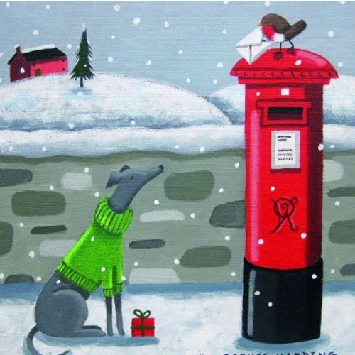 Artists Cards Whisful Whippet by Sophie Harding x5 Xmas Charity cards 100x100mm