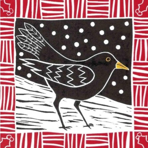 Artists Cards Winter Blackbird by Anna Pye x5 Xmas Charity cards 140x140mm