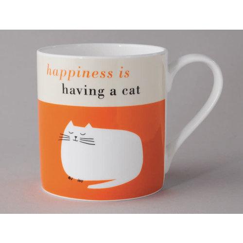Repeat Repeat Happiness  Large Mug Catnop Orange 104