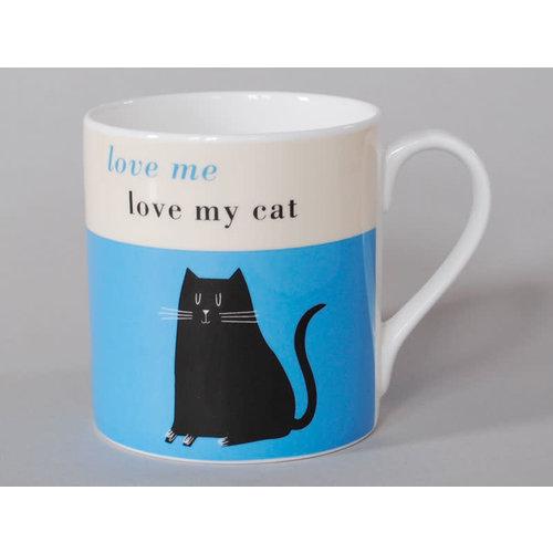 Repeat Repeat Happiness  Large Mug Black Cat Blue 107