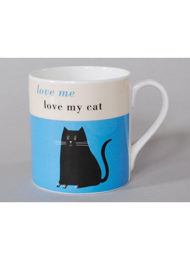 Glück Großer Becher Schwarze Katze Blau 107