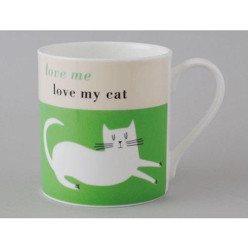 Repeat Repeat Happiness  Large Mug Reclining Cat Green 108