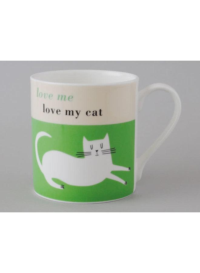 Glück-große Tasse stützendes Katzen-Grün 108