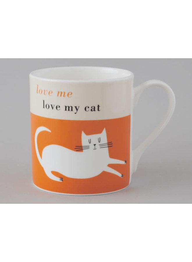 Glück-große Tasse stützende Katzen-Orange 109