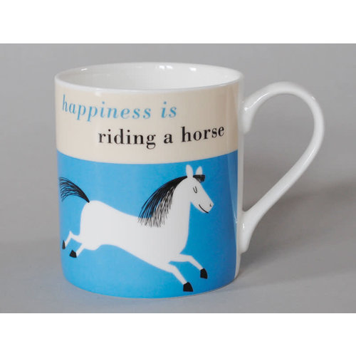 Repeat Repeat Happiness  Large Mug Leaping Horse Blue 112