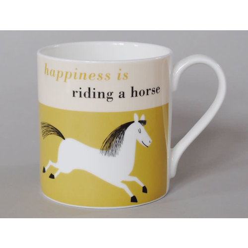 Repeat Repeat Happiness  Large Mug Leaping Horse Olive 114