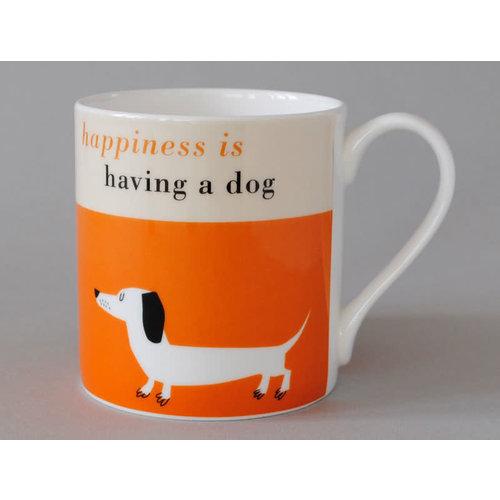 Repeat Repeat Happiness  Large Mug Sausage Dog Orange 118