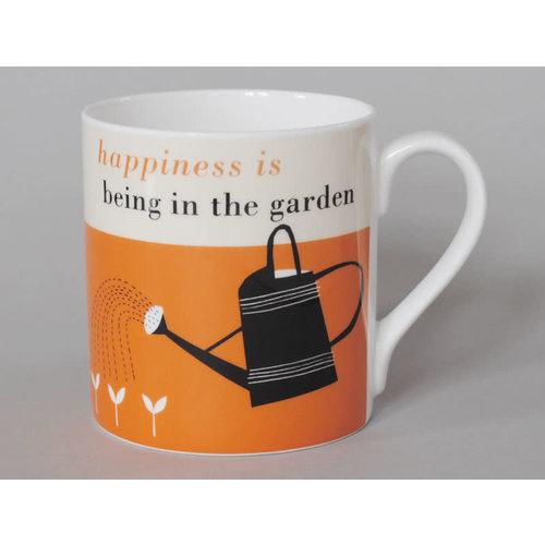 Repeat Repeat Glück-große Tasse, die Orange 119 im Garten arbeitet