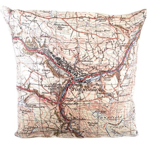Jane Revitt Cojín del Mapa de la Ordenanza Todmorden 1947 10