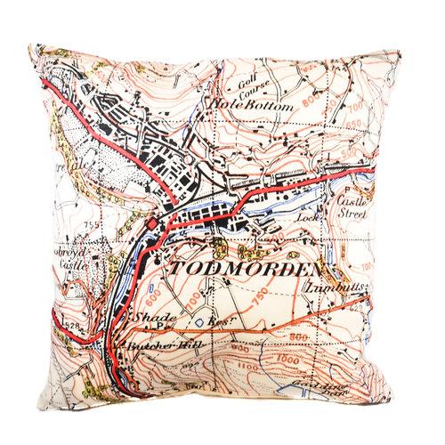 Jane Revitt Todmorden Centre Ordinance Map Cushion 1947  09