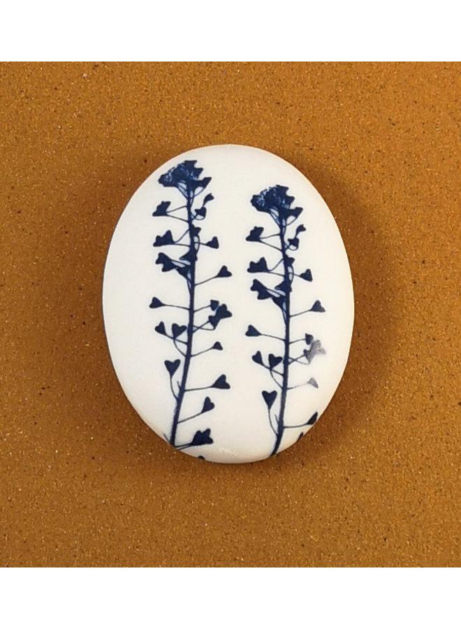 Beidseitiger Prüfstein 076 aus glattem ovalem Porzellan