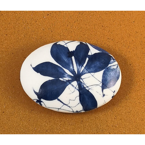 Clare Mahoney Smooth Oval Porcelain double sided touchstone  080