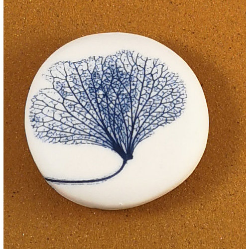 Clare Mahoney Smooth Medium Round Porcelain double sided touchstone  081