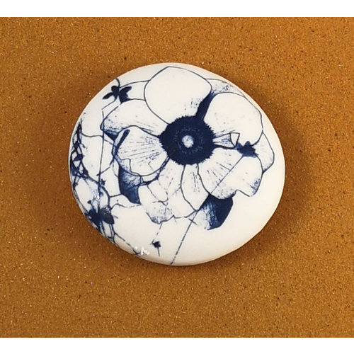 Clare Mahoney Smooth Medium Round Porcelain double sided touchstone  082