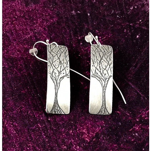 Anna Roebuck Trees  metal light rectangle long hook earrings 80
