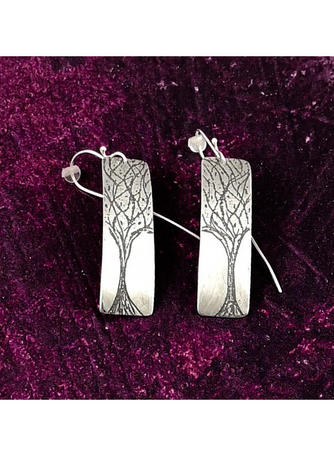 Bäume Metall Licht Rechteck lange Haken Ohrringe 80