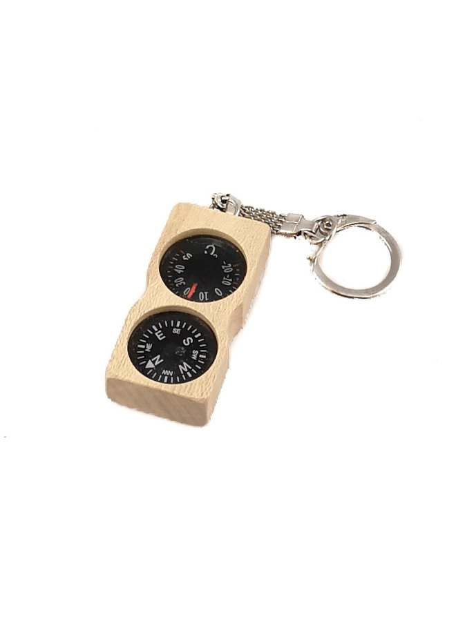 Compass Thermometer Holly Key Ring