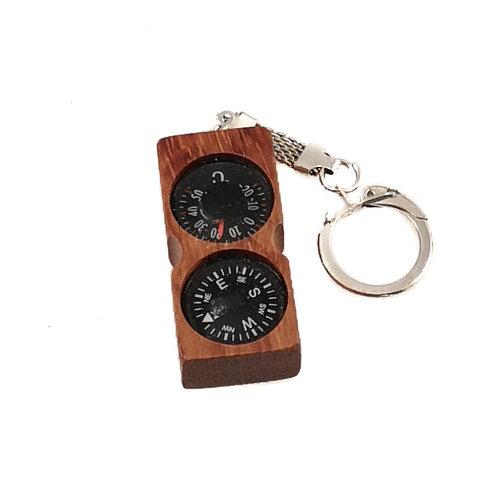 Ullapool Box Creations Compass Thermometer Mahogany  Key Ring 01