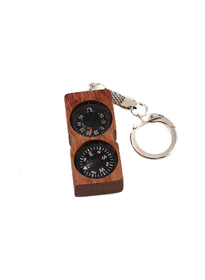 Kompass Thermometer Mahagoni Schlüsselanhänger 01