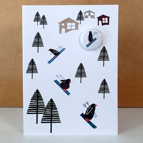 Black Rabbit Skiing Penguins Badge  Card