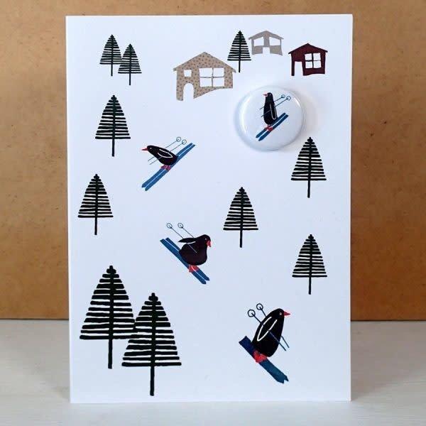 Skiing Penguins Badge  Card