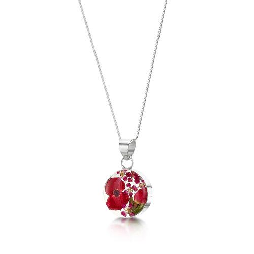 Shrieking Violet Mohn / Rose kleine runde Halskette mit echten Blumen und Silber 121