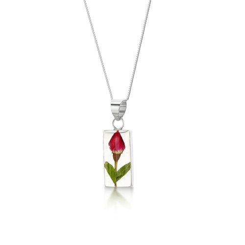 Shrieking Violet Rose Bud rectangle necklace with real flowers and  silver  120