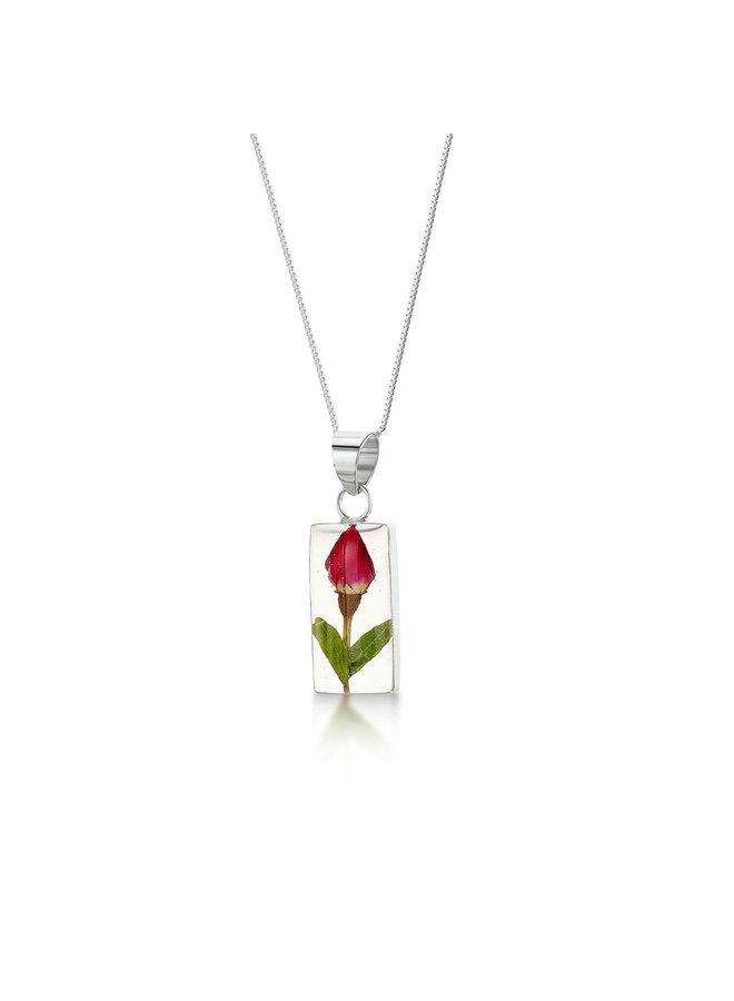 Rosenknospe Rechteck Halskette mit echten Blumen und Silber 120